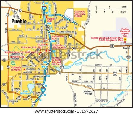 Pueblo Colorado Area Map Stock Vector Royalty Free 151592627