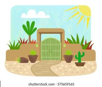 Pueblo Style Gate - Cartoon pueblo style gate with green door and plants. Eps10