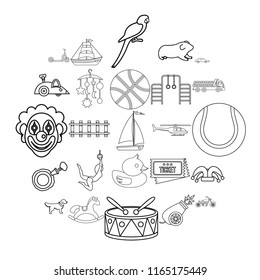Puerility icons set. Outline set of 25 puerility vector icons for web isolated on white background