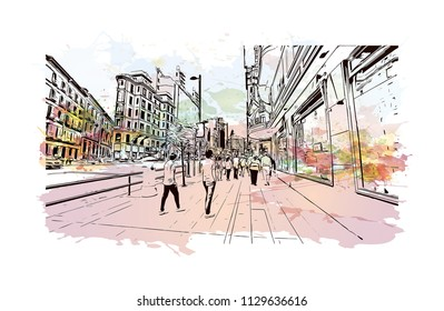 The Puerta del Sol is a public square in Madrid, Spain one of the best known and busiest places in the city. Watercolor splash with Hand drawn sketch illustration in vector.