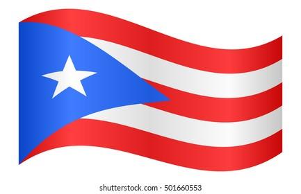 Puerto Rican national official flag. Patriotic symbol, banner, element, background. Correct colors. Flag of Puerto Rico waving on white background, vector illustration