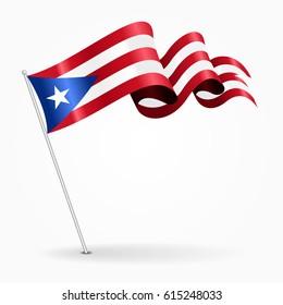 Puerto Rican pin icon wavy flag. Vector illustration.