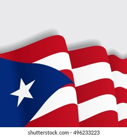 Puerto Rican waving Flag. Vector illustration.