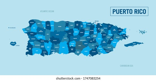 Puerto Rico country, Island political map. Detailed illustration with isolated regions, departments and cities easy to ungroup.