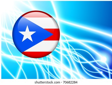 Puerto Rico Flag Button on Abstract Light Background Original Illustration
