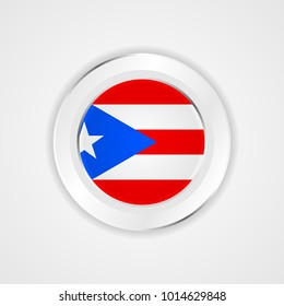Puerto rico flag in glossy vector icon.