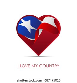 Puerto Rico flag in heart. I love my country. sign. Vector illustration.