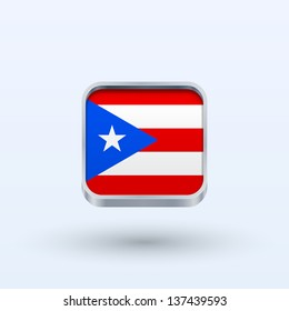 Puerto Rico flag icon square form on gray background. Vector illustration.