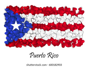 Puerto Rico flag made with lot of hearts. With love from Puerto Rico. Made in Puerto Rico. National independence day of Puerto Rico. Sport team flag.
