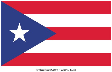 Puerto Rico flag, official colors and proportion correctly. National Puerto Rico flag. Vector illustration