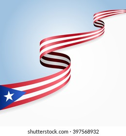 Puerto Rico flag wavy abstract background. Vector illustration.