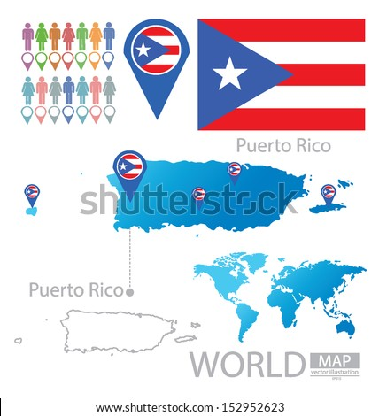 Puerto Rico Flag World Map Vector Stock Vector (Royalty Free ...