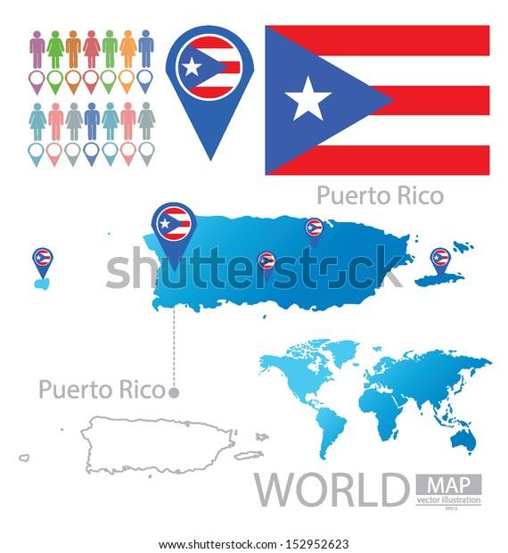 Puerto Rico Flag World Map Vector | Royalty-Free Stock Image