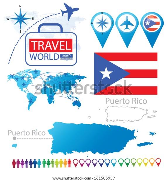 Puerto Rico Flag World Map Travel Stock Vector (Royalty Free) 161505959