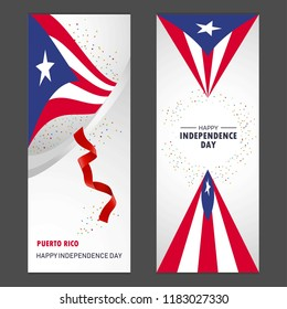 Puerto Rico Happy independence day Confetti Celebration Background Vertical Banner set