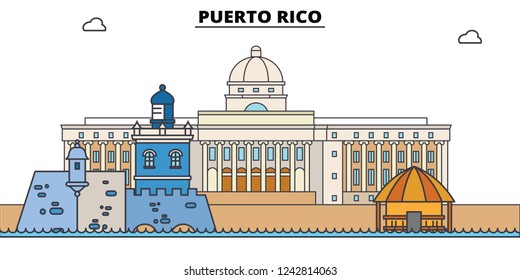Puerto Rico line skyline vector illustration. Puerto Rico linear cityscape with famous landmarks, city sights, vector, design landscape.