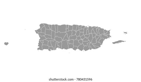 puerto Rico map. High detailed map of puerto Rico on white background. Vector illustration eps 10.
