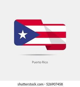 Puerto Rico national flag on a white background with shadow. vector illustration