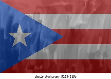 Puerto Rico painted / drawn vector flag. Dramatic, unusual look. Vector file contains flag and texture layers
