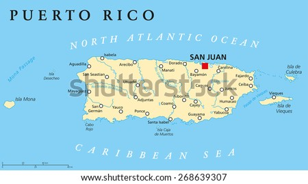 United States Map With Puerto Rico.Puerto Rico Political Map Capital San Stock Vector Royalty Free