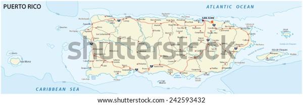 road map of puerto rico Puerto Rico Road Map Stock Vector Royalty Free 242593432 road map of puerto rico