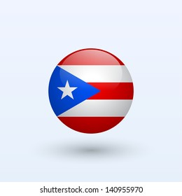 Puerto Rico round flag. Vector illustration.