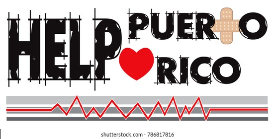 Puerto Rico - September 7, 2017: Vector Illustration to Help Puerto Rico with a bandage to heal. Hurricane Irma and Hurricane Maria hit this island.