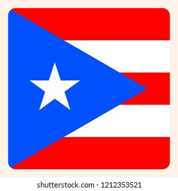 Puerto Rico square flag button, social media communication sign, business icon.