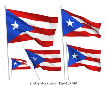 Puerto Rico vector flags set. 5 wavy 3D cloth pennants fluttering on the wind. EPS 8 created using gradient meshes isolated on white background. Five flagstaff design elements from world collection