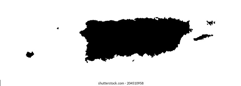 Puerto Rico vector map silhouette isolated on white background. High detailed illustration.