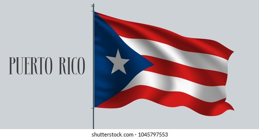 Puerto Rico waving flag on flagpole vector illustration. Red white element of Puerto Rican wavy realistic flag as a symbol of country