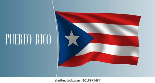 Puerto Rico waving flag vector illustration. Iconic design element  as a national Puerto Rican symbol