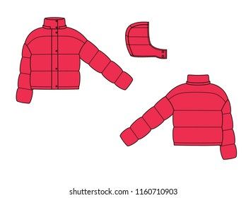 puff jacket technical sketches. Front and back view. Red winter sport jacket