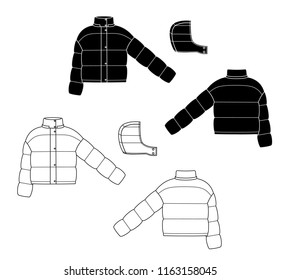 puff jacket technical sketches. Front and back view. black winter sport jacket