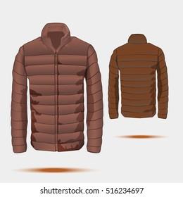 Puffer, bomber jacket template with zipper. Vector.