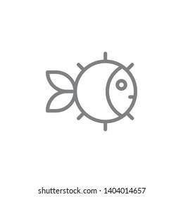 Puffer fish icon. Element of beach holiday icon. Thin line icon for website design and development, app development. Premium icon