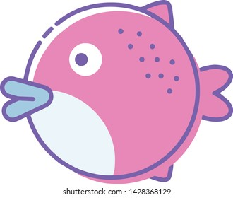 Puffer fish icon in trendy flat style isolated on white background. Puffer fish symbol. Vector illustration