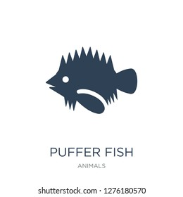 puffer fish icon vector on white background, puffer fish trendy filled icons from Animals collection, puffer fish vector illustration