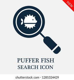 Puffer fish search icon. Editable Puffer fish search icon for web or mobile.
