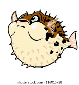 puffer fish,blow fish,cartoon vector image isolated on white background,children illustration,picture for little kids