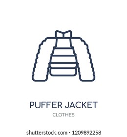 puffer jacket icon. puffer jacket linear symbol design from Clothes collection. Simple outline element vector illustration on white background.
