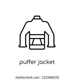 puffer jacket icon. Trendy modern flat linear vector puffer jacket icon on white background from thin line Puffer jacket collection, outline vector illustration
