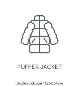 puffer jacket linear icon. Modern outline puffer jacket logo concept on white background from Clothes collection. Suitable for use on web apps, mobile apps and print media.