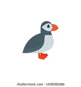 Puffin bird cartoon icon,vector on a white background