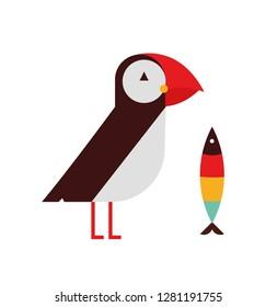 Puffin bird flat vector illustration on white