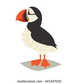 Puffin bird icon. Cartoon Icelandic puffin. Vector illustration, isolated on white background
