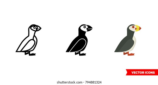 Puffin icon of 3 types: color, black and white, outline. Isolated vector sign symbol.