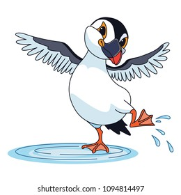 puffin, jumping in a puddle, cartoon. Vector.