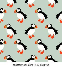 Puffin seabird seamless vector pattern. Mint ice background with atlantic ocean animal cartoon bird.