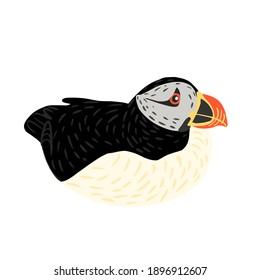 Puffin sit isolated on white background. Cute seabird lives by the ocean, has black and white color, has orange beak and legs. In doodle style vector illustration.